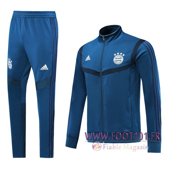 Ensemble Survetement Foot - Veste Bayern Munich Bleu 2019/2020