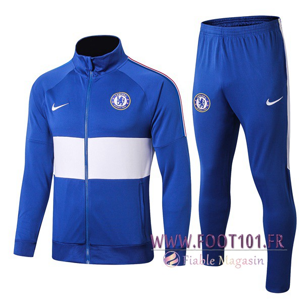 Ensemble Survetement Foot - Veste FC Chelsea Bleu/Blanc 2019/2020