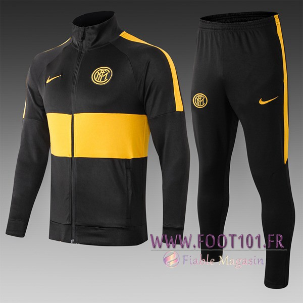 Ensemble Survetement Foot Inter Milan Enfant Noir Jaune 2019/2020