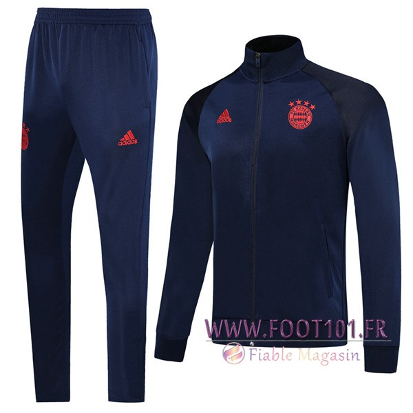 Ensemble Survetement Foot - Veste Bayern Munich Bleu Fonce 2019/2020