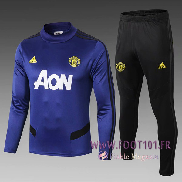 Ensemble Survetement Foot - Veste Manchester United Enfant Bleu 2019/2020