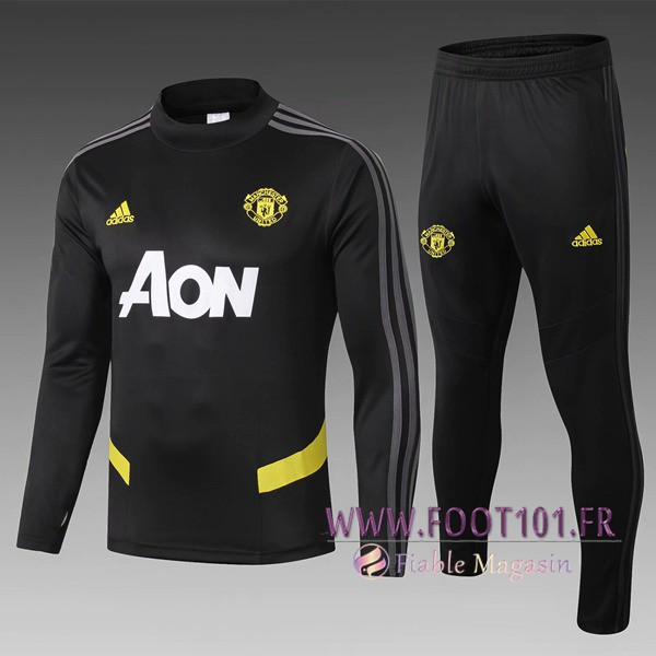 Ensemble Survetement Foot Manchester United Enfant Noir 2019/2020