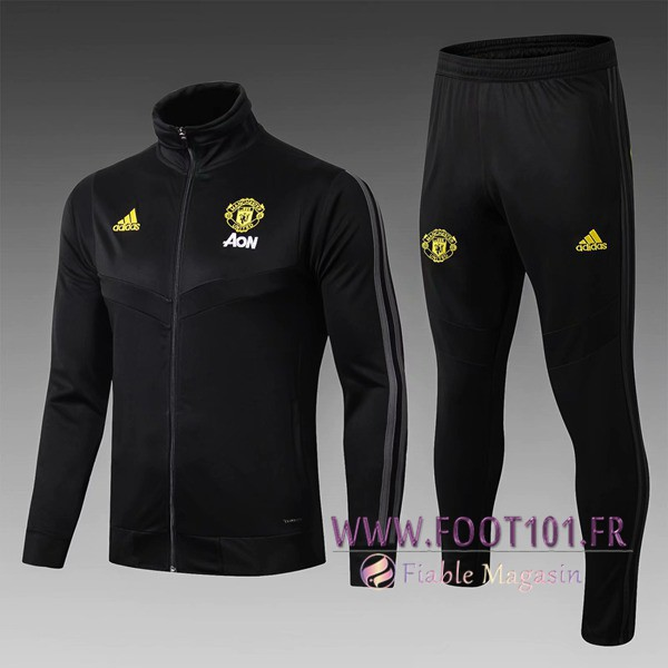 Ensemble Survetement Foot - Veste Manchester United Enfant Noir 2019/2020