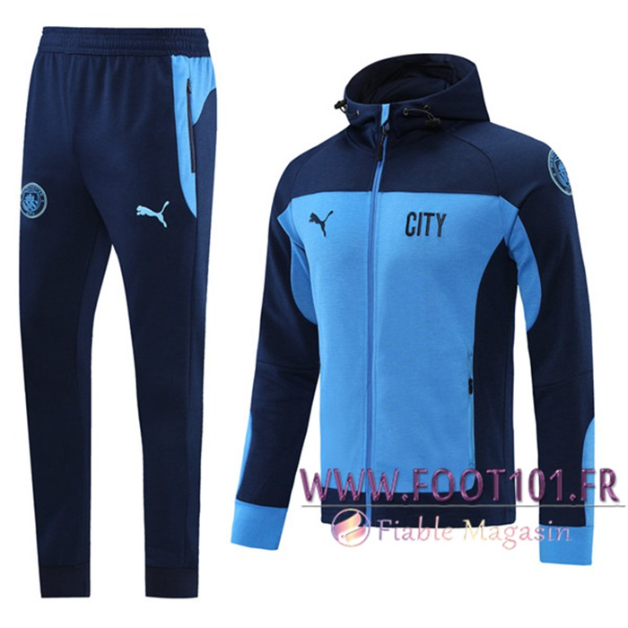 Ensemble Veste A Capuche Veste Survetement Manchester City Bleu Marin 2020/2021