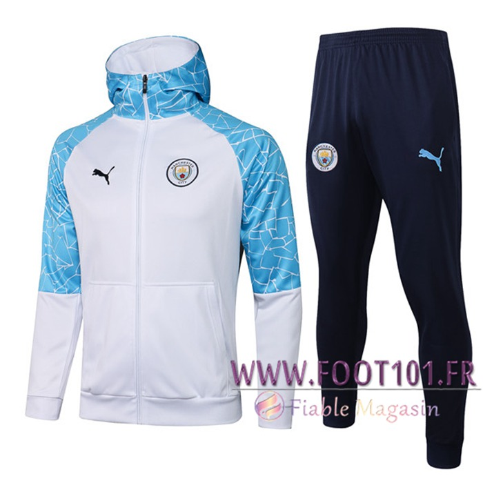 Ensemble Veste A Capuche Veste Survetement Manchester City Blanc/Bleu 2020/2021