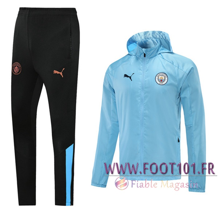 Ensemble Survetement Coupe-vent Manchester City Bleu 2020/2021