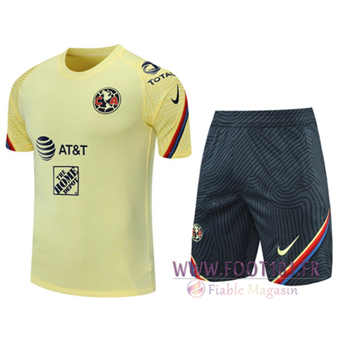 Ensemble Training T-Shirts Club America + Shorts Jaune 2021/2022