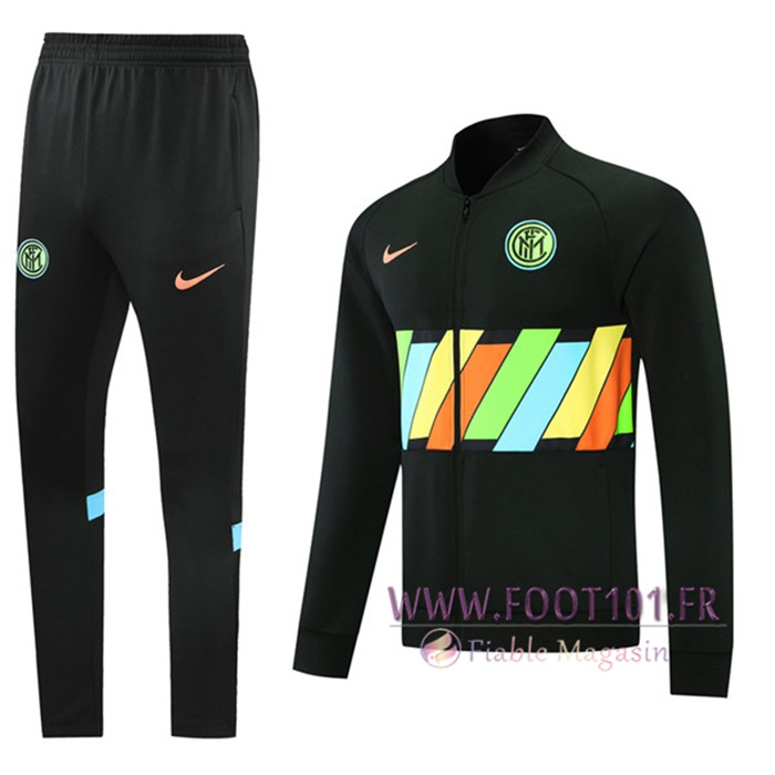 Ensemble Veste Survetement de Foot Inter Milan Noir 2021/2022