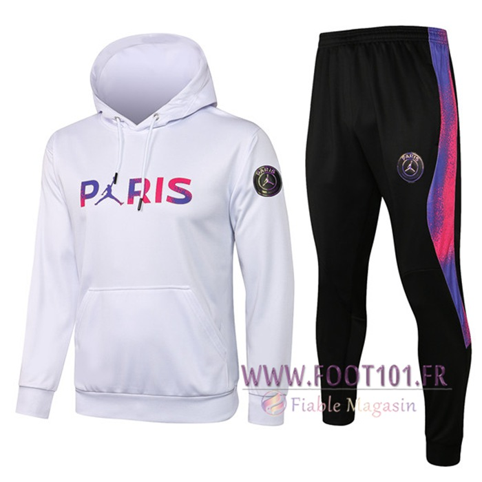 Ensemble Veste A Capuche Survetement Foot Jordan PSG Paris Blanc 2021/2022