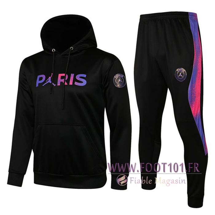 Ensemble Veste A Capuche Survetement Foot Jordan PSG Paris Noir 2021/2022