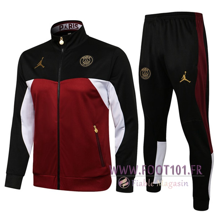 Ensemble Veste Survetement de Foot Jordan PSG Noir/Rouge 2021/2022