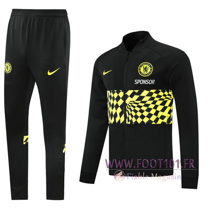 Ensemble Veste Survetement de Foot FC Chelsea Noir/Jaune 2021/2022