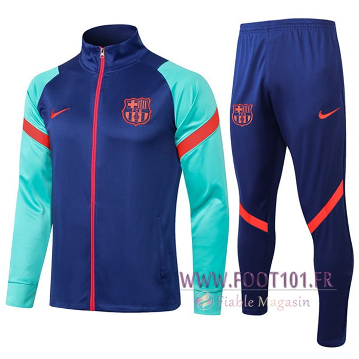 Ensemble Veste Survetement de Foot FC Barcelone Bleu/Vert 2021/2022