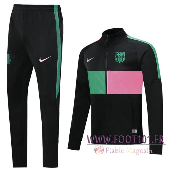 Ensemble Survetement Foot - Veste FC Barcelone Noir Vert Rose 2019/2020