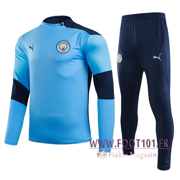 Ensemble Survetement de Foot Manchester City Bleu 2020/2021