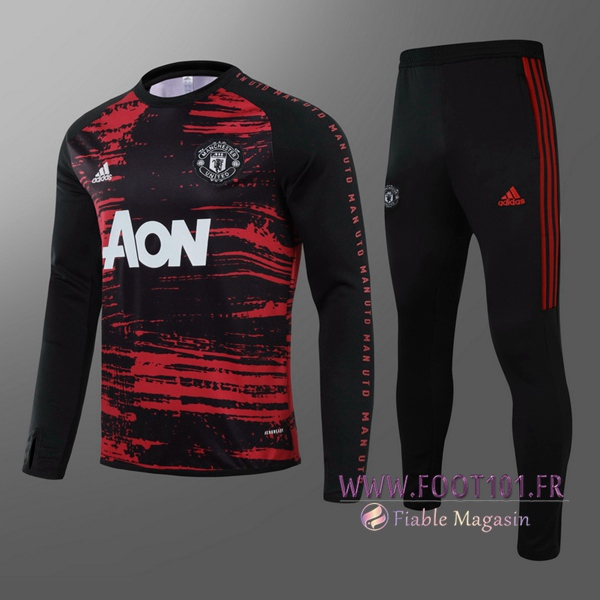 Ensemble Survetement de Foot Manchester United Enfant Noir 2020/2021