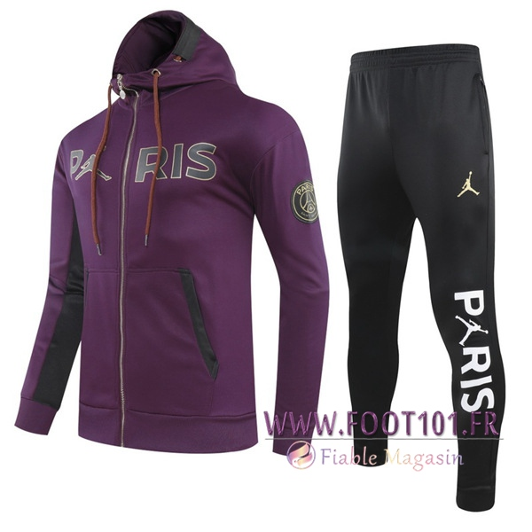 Ensemble Veste A Capuche Survetement PSG Jordan Violet 2020/2021