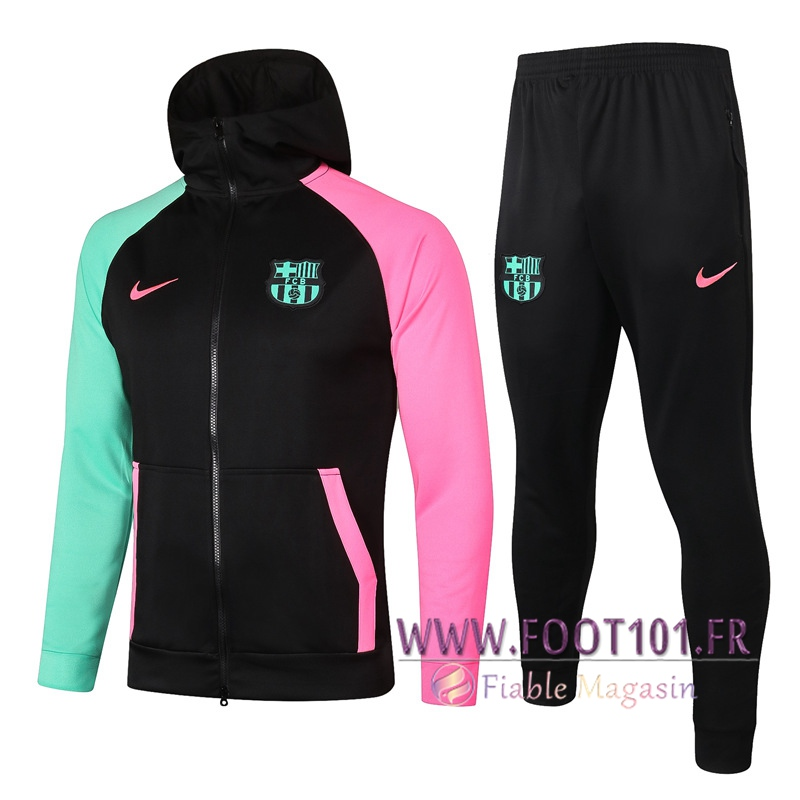 Ensemble Veste A Capuche Survetement FC Barcelone Noir 2020/2021
