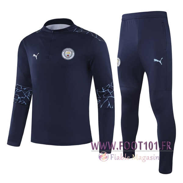 Ensemble Survetement de Foot Manchester City Enfant Bleu Marin 2020/2021