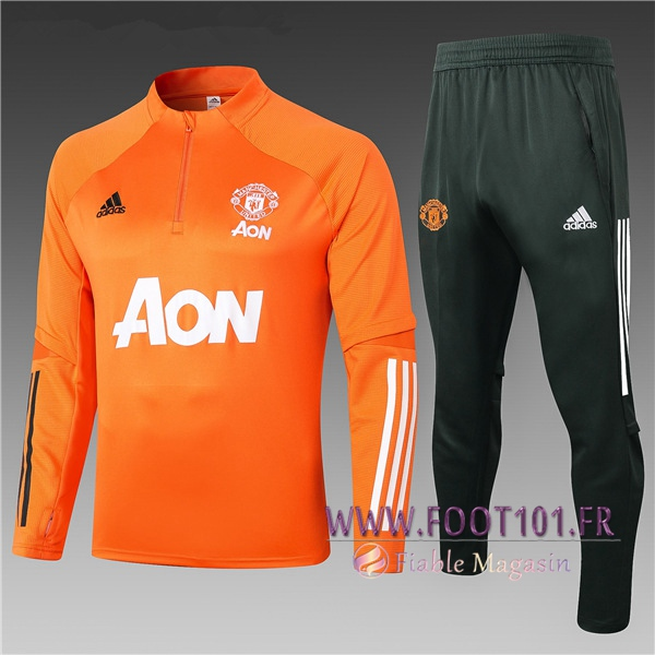 Ensemble Survetement de Foot Manchester United Enfant Orange 2020/2021