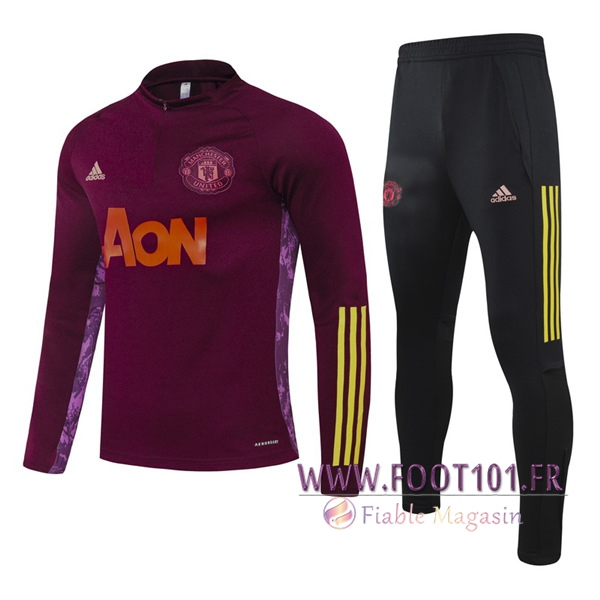 Ensemble Survetement de Foot Manchester United Enfant Violet 2020/2021