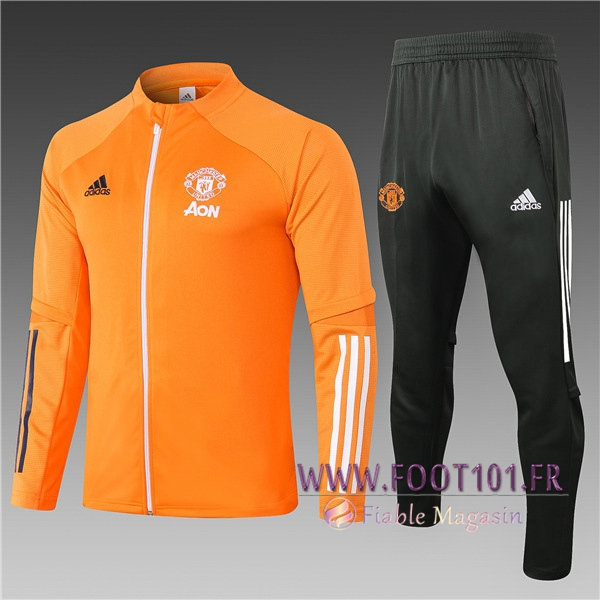 Ensemble Survetement Foot - Veste Manchester United Enfant Orange 2020/2021