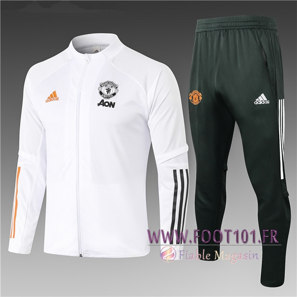 Ensemble Survetement Foot - Veste Manchester United Enfant Blanc 2020/2021