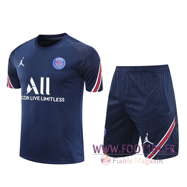 Ensemble Training T-Shirts PSG Jordan + Shorts Bleu Marin 2020/2021