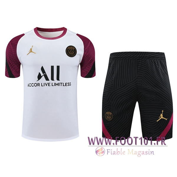 Ensemble Training T-Shirts PSG Jordan + Shorts Blanc 2020/2021