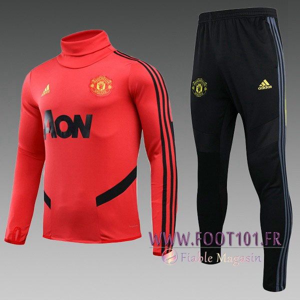 Ensemble Survetement de Foot Manchester United Enfant Rouge Col Haut 2019/2020