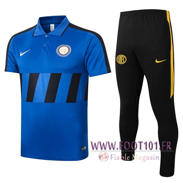Ensemble Polo Inter Milan + Pantalon Bleu Noir 2020/2021