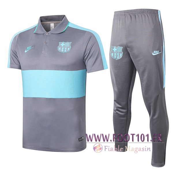 Ensemble Polo FC Barcelone + Pantalon Gris Bleu 2020/2021
