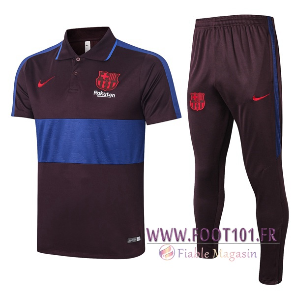 Ensemble Polo FC Barcelone + Pantalon Marron Bleu 2020/2021