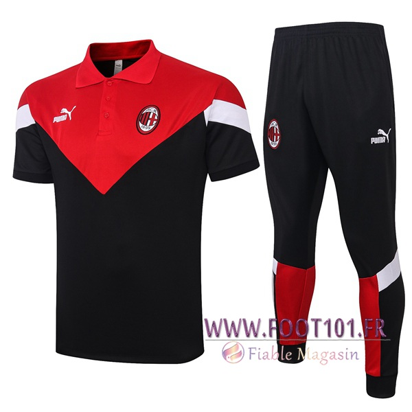 Ensemble Polo Milan AC + Pantalon Noir Rouge 2020/2021