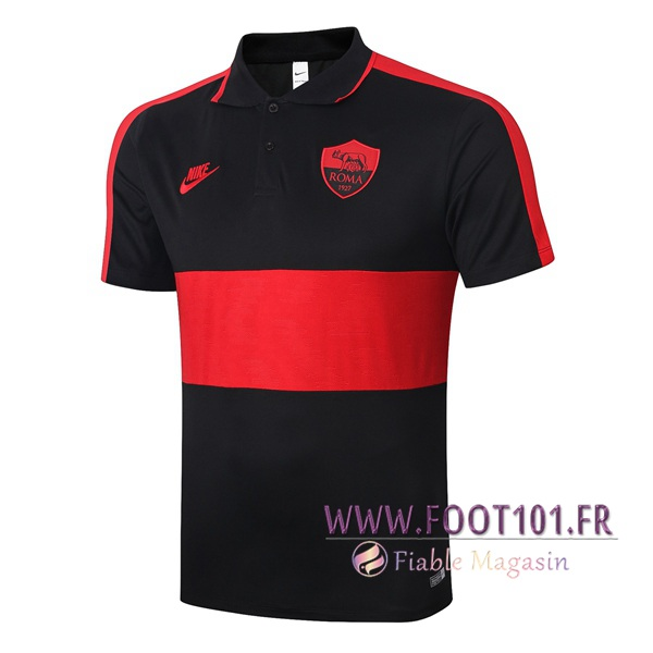 Polo Foot AS Roma Noir Rouge 2020/2021