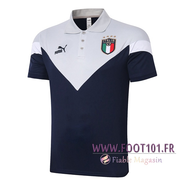Polo Foot Italie Gris Blanc 2020/2021