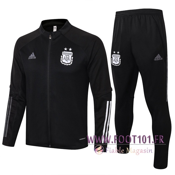 Ensemble Survetement Foot - Veste Argentine Noir 2020/2021