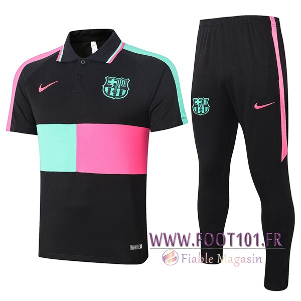 Ensemble Polo FC Barcelone + Pantalon Noir Vert Rose 2020/2021