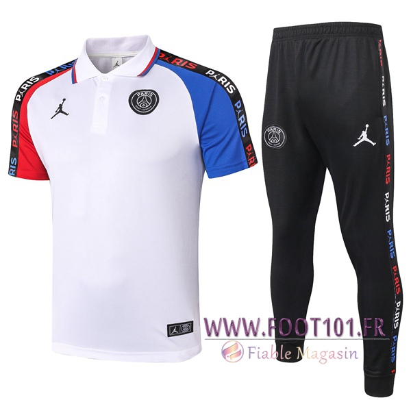 Ensemble Polo Paris PSG Jordan + Pantalon Blanc Bleu Rouge 2020/2021