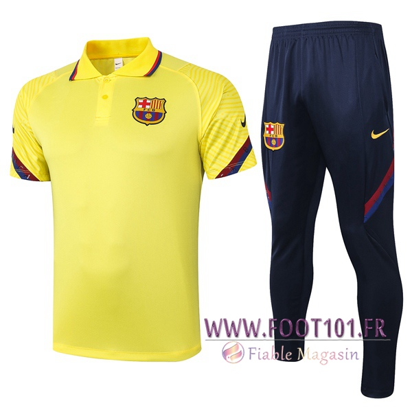 Ensemble Polo FC Barcelone + Pantalon Jaune 2020/2021