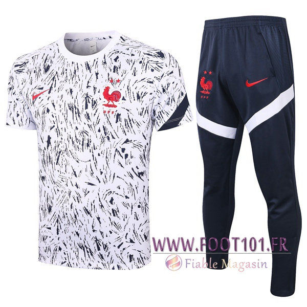 Ensemble Training T-Shirts France + Pantalon Noir Blanc 2020/2021