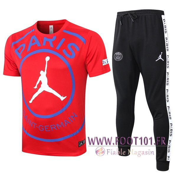 Ensemble Training T-Shirts Paris PSG Jordan + Pantalon Rouge 2020/2021