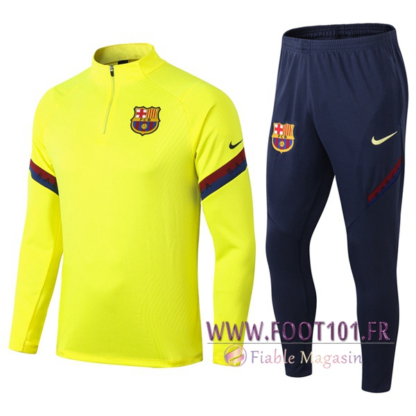 Ensemble Survetement Foot FC Barcelone Jaune 2020/2021