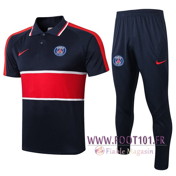 Ensemble Polo Paris PSG + Pantalon Bleu Royal Rouge 2020/2021