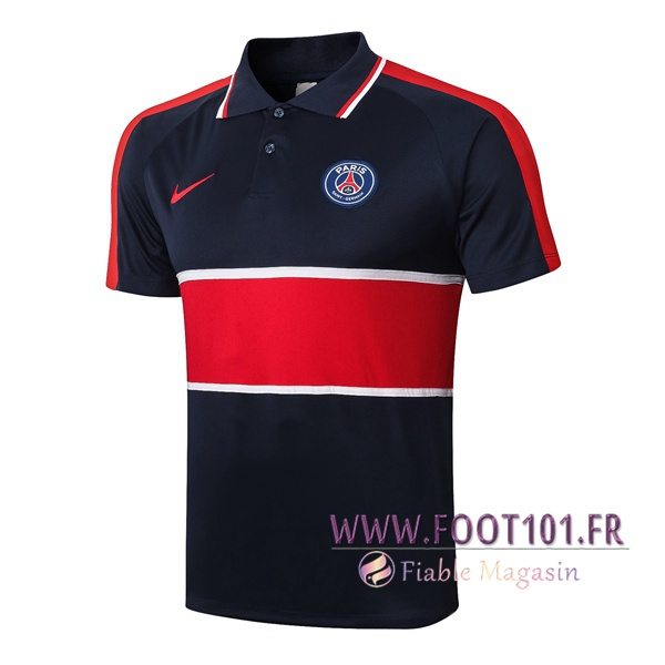 Polo Foot Paris PSG Bleu Royal Rouge 2020/2021
