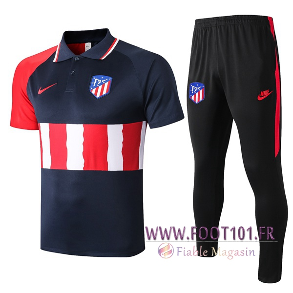 Ensemble Polo Atletico Madrid + Pantalon Bleu Royal 2020/2021