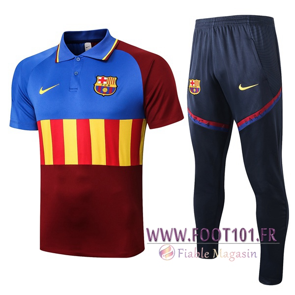 Ensemble Polo FC Barcelone + Pantalon Bleu Rouge 2020/2021