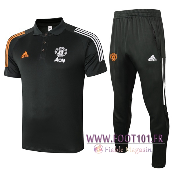 Ensemble Polo Manchester United + Pantalon Noir 2020/2021