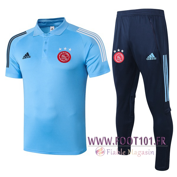 Ensemble Polo AFC Ajax + Pantalon Bleu 2020/2021