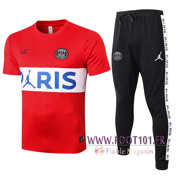 Ensemble Training T-Shirts Paris PSG + Pantalon Rouge 2020/2021